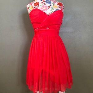 Coral spaghetti strapped dress